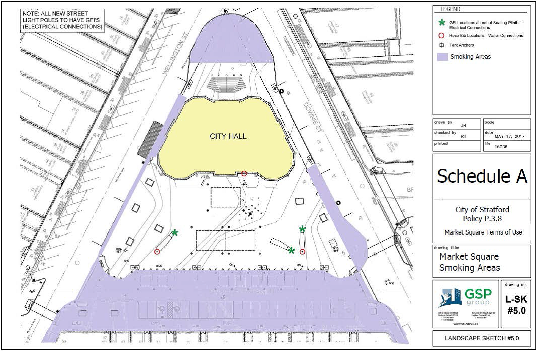 Map showing no smoking area in Market Square.