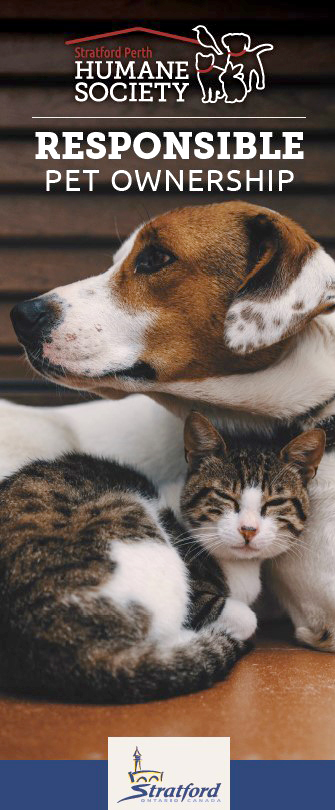 Responsible Pet Ownership brochure cover with image of cat and dog