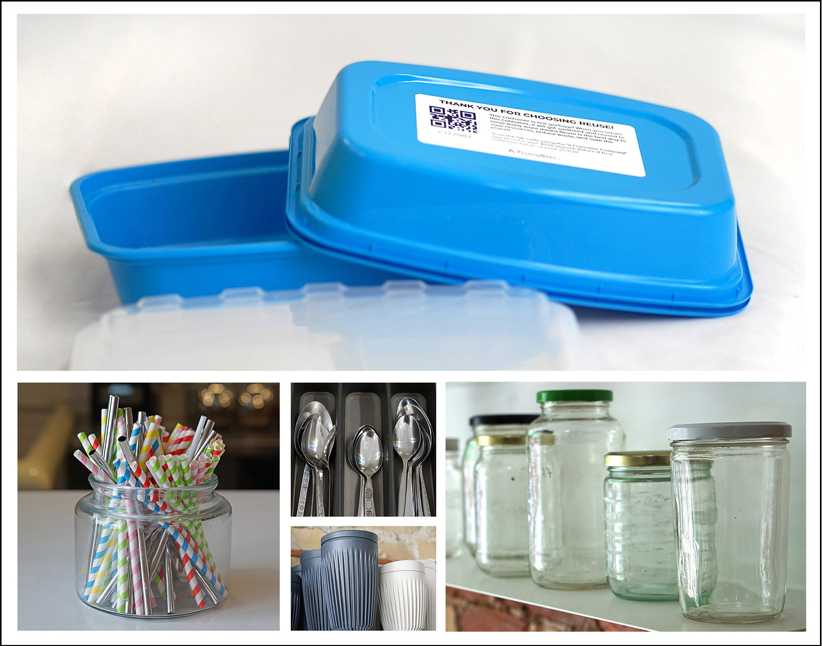 Collage of reusable take-out containers, jars, silverware, paper straws